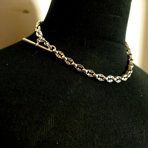 0-シルバー ダイヤモチーフ アルバートチェーン(41cm)