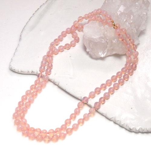 ピンクオパールーセントガラス ロングネックレス