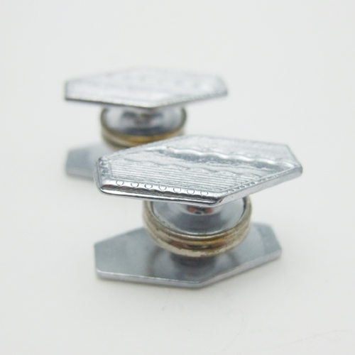 SOLD-アールデコ クローム スナップカフス 縦六角形