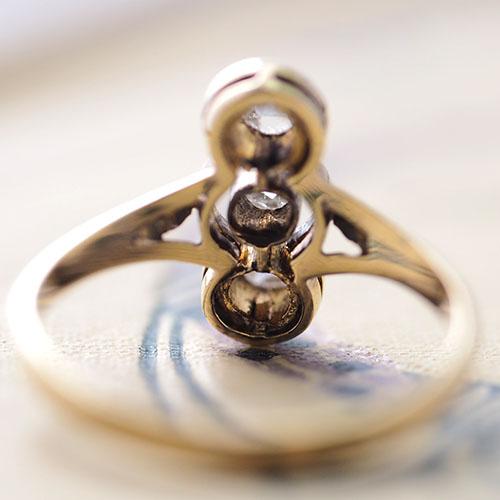 14金 ローズカットダイヤモンド 3つ石リング