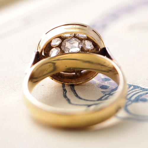 18金 ローズカットダイヤモンド クラスター アールデコリング