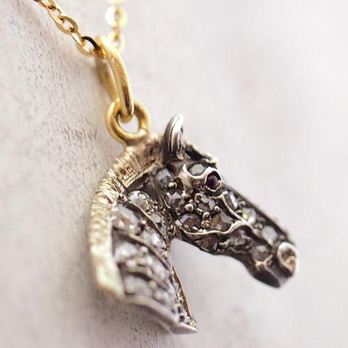 9金シルバー ローズカットダイヤモンド 馬のペンダント