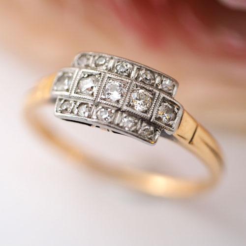 18金 天然ダイヤモンド スクエアアールデコリング(アンティークジュエリー)