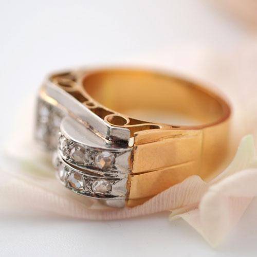 18金 ローズカットダイヤモンド アールデコカクテルリング(アンティークジュエリー)