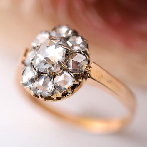 18金 ローズカットダイヤモンド クラスターオーヴァルリング(アンティークジュエリー)
