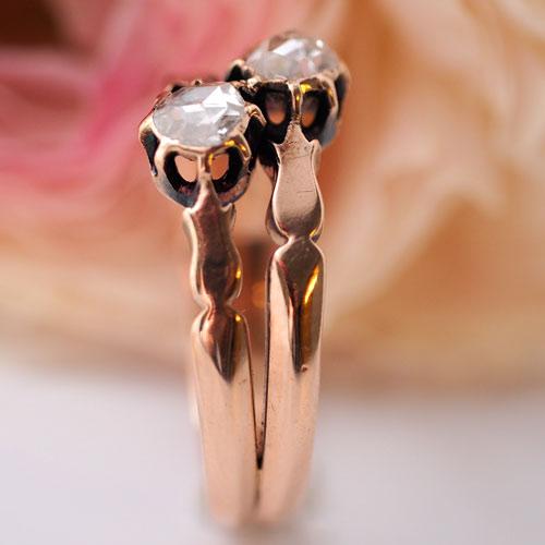 14金 ピンクゴールド ローズカットダイヤモンド トワエアリング(アンティークジュエリー)