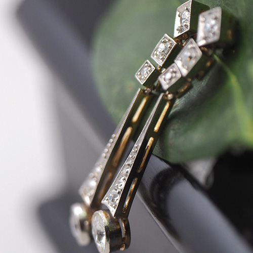 14金 ホワイトゴールド オールドヨーロピアンカットダイヤモンド アールデコピアス