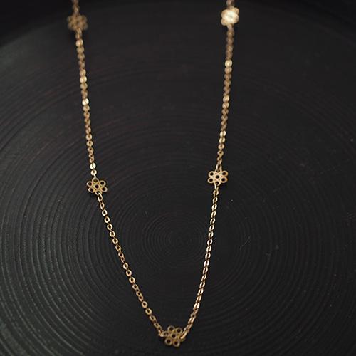 9金 フラワーチェーン (37.5cm)