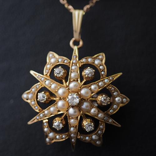 15金 天然ダイヤモンド シードパール 北極星ブローチ ペンダント