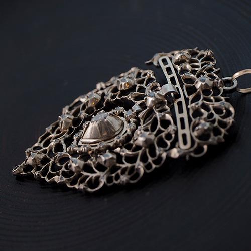シルバー14金 1830-1870 ローズカットダイヤモンド フランドルハート ペンダント