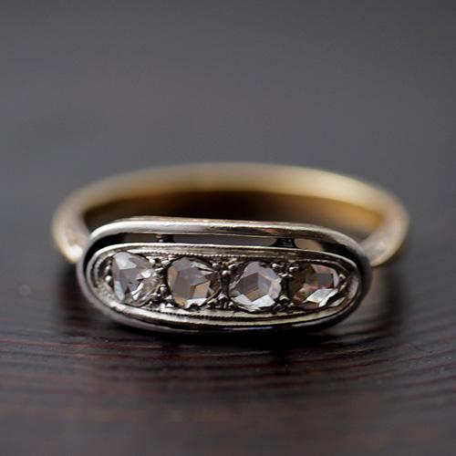 14金 4ローズカットダイヤモンド リング