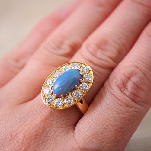18金 ブラックオパール ダイヤモンド オーバルリング