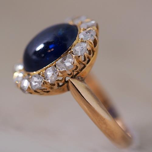 18金 カボションカット天然ブルーサファイア ローズカットダイヤモンド リング