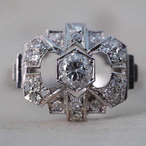 プラチナ アールデコ ダイヤモンド カクテルリング
