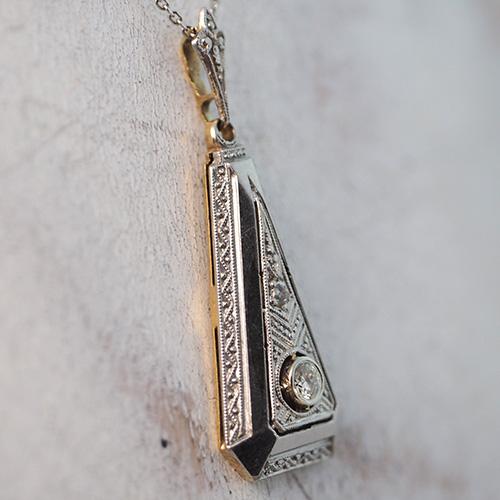 14金 ダイヤモンド ミルグレイン アールデコペンダント
