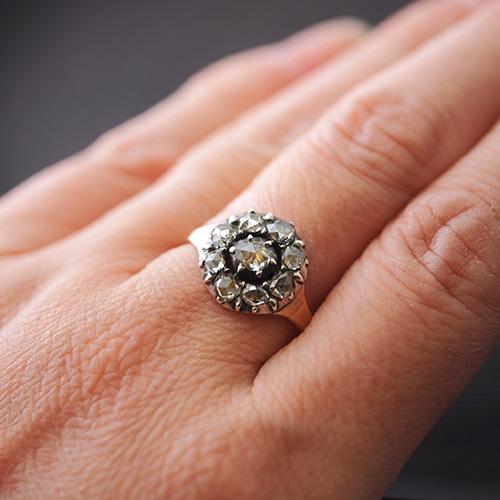 14金 シルバー ローズカットダイヤモンド クラスターリング