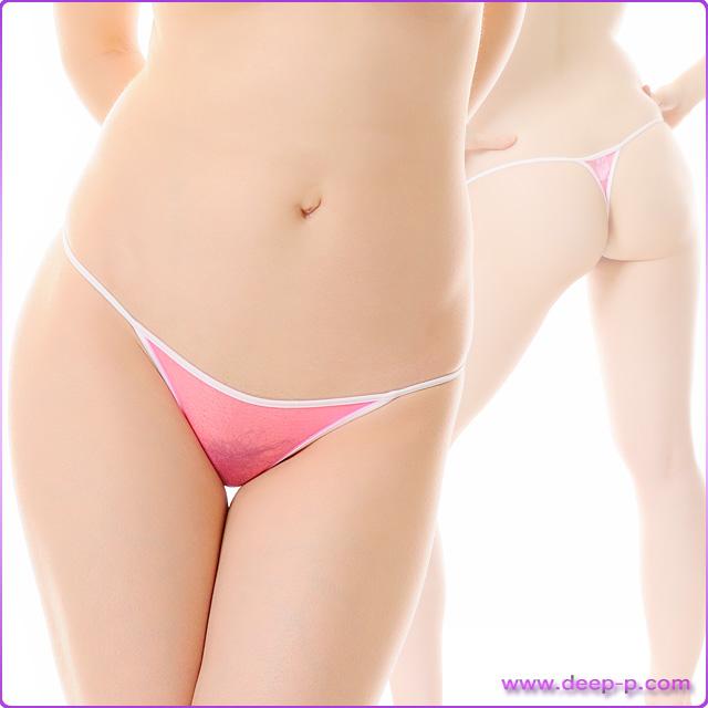 周りを白くパイピングされたミニTバックパンティ スパークハーフシースルー ホットピンク色 | ターキー | ●