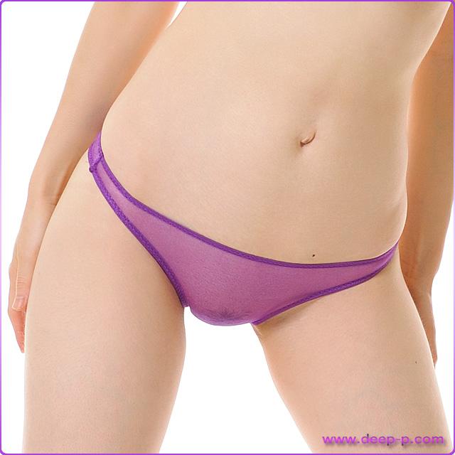 シンプルTバックパンティ お肌スケスケ ローレグローライズ スパークハーフシースルー 紫色 | ラポーム | ●