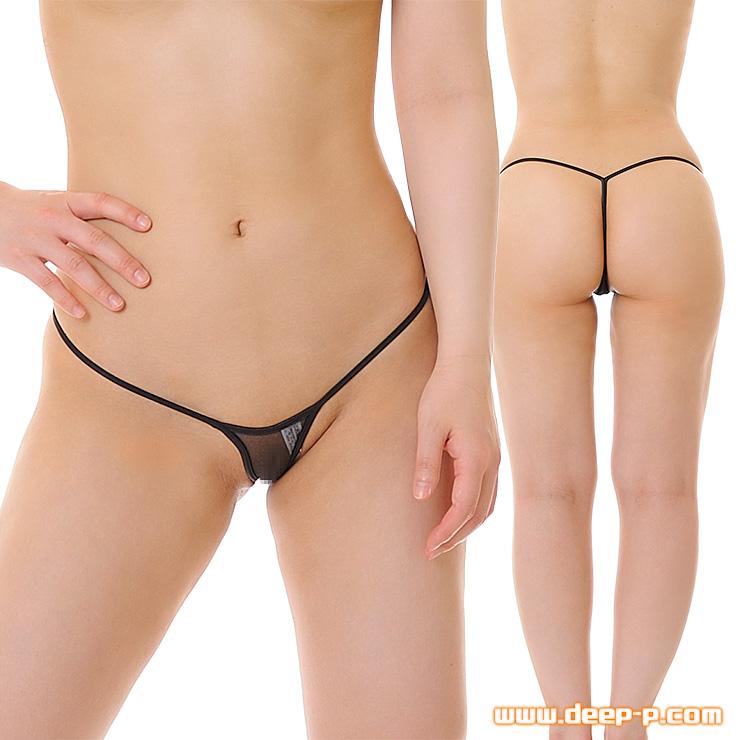 前、細ぃGストリングパンティー お尻の丸みが綺麗に見えるYバック スパークハーフ地 黒色   ターキー   ●