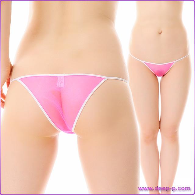 周りを白くパイピングされたミニハーフバックパンティ スパークハーフシースルー ホットピンク色   ターキー   ●