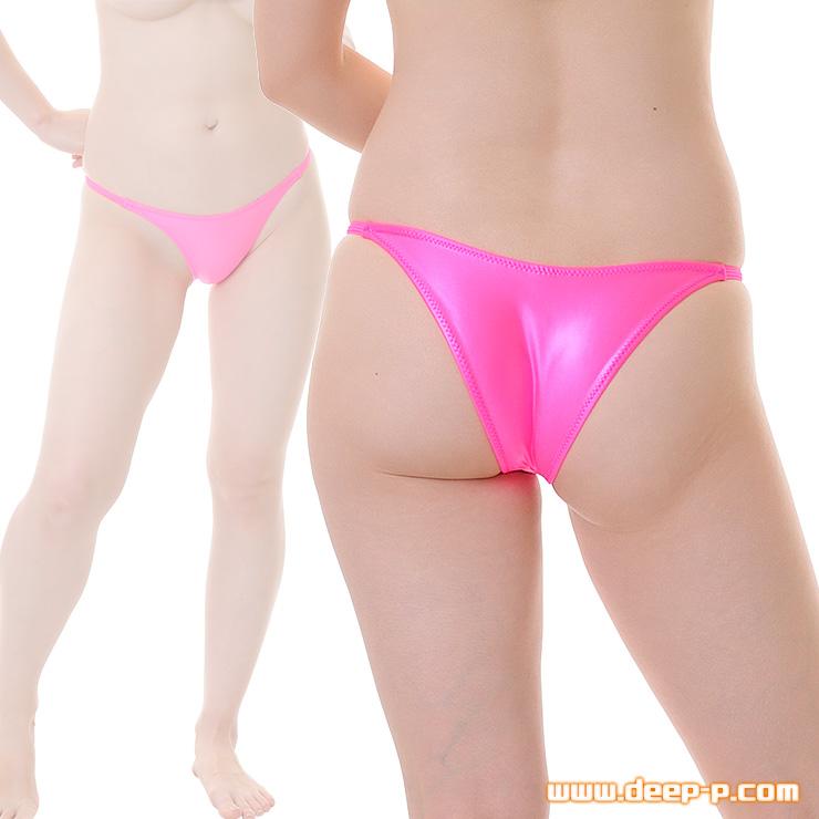 腰回りがシャープなブラジリアンバックパンティー 濡れた様な感じのスーパーウェット地 ホットピンク色 | ターキー | ●