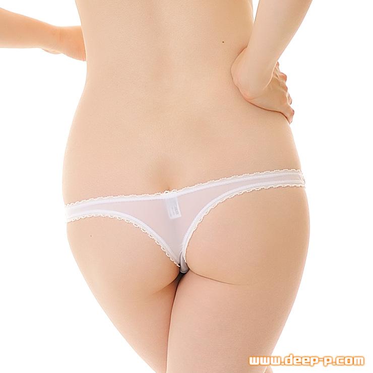 縁がピコゴムで可愛く浅いTバックパンティ 柔らかくしなやかで微妙に透けます SMF 白色   ターキー   ●