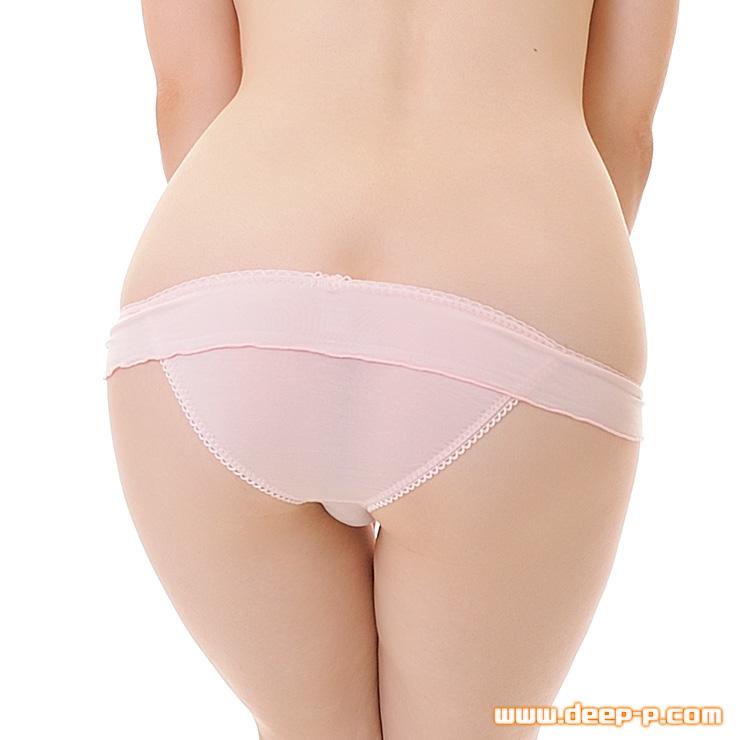 メロー加工されたミニフリル 可愛いけど浅いハーフバックパンティ 肌に優しいテンセル地 薄いピンク色 | ターキー | ●