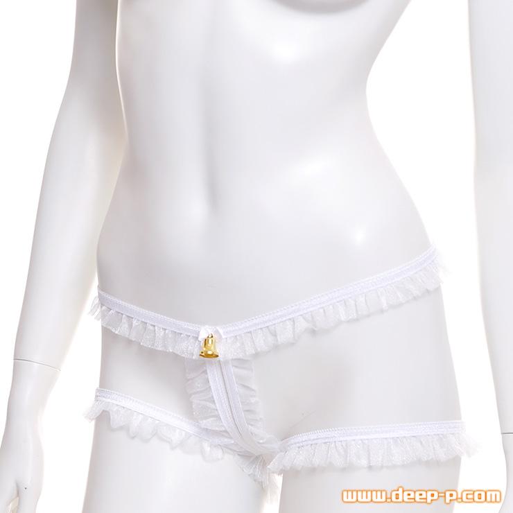 着用するときよく見て確認してね 縁取りだけほぼ丸見えパンティー お肌隠す部分が無いの 白色 | ラポーム | ●