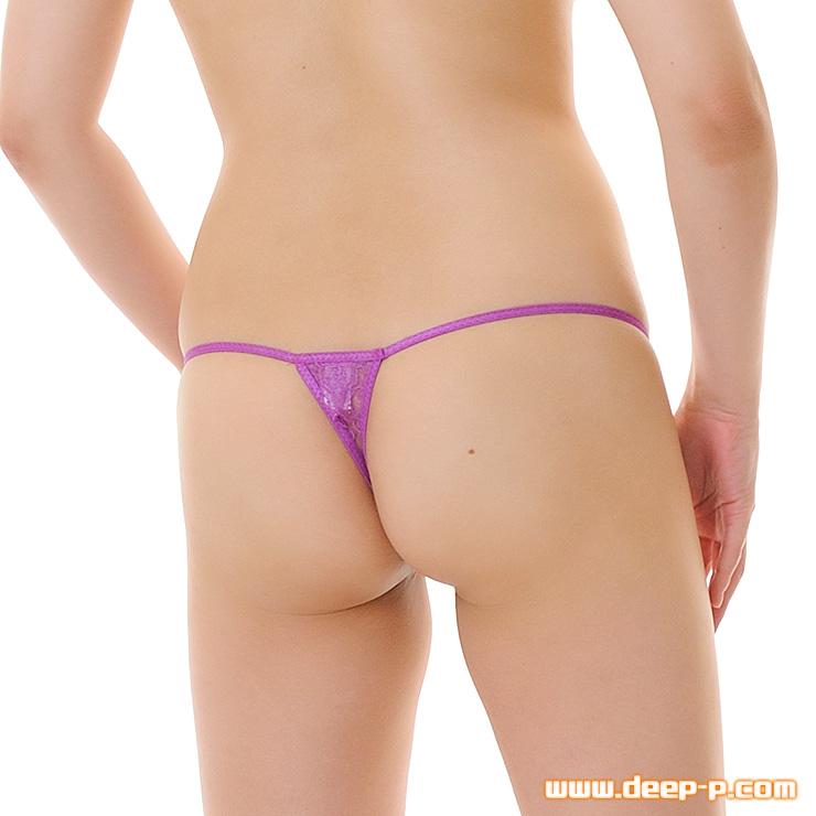 着エロ以上、アソコ強調し丸見え状態になります フルオープンパンティ リジットレース 紫色 | ターキー | ●