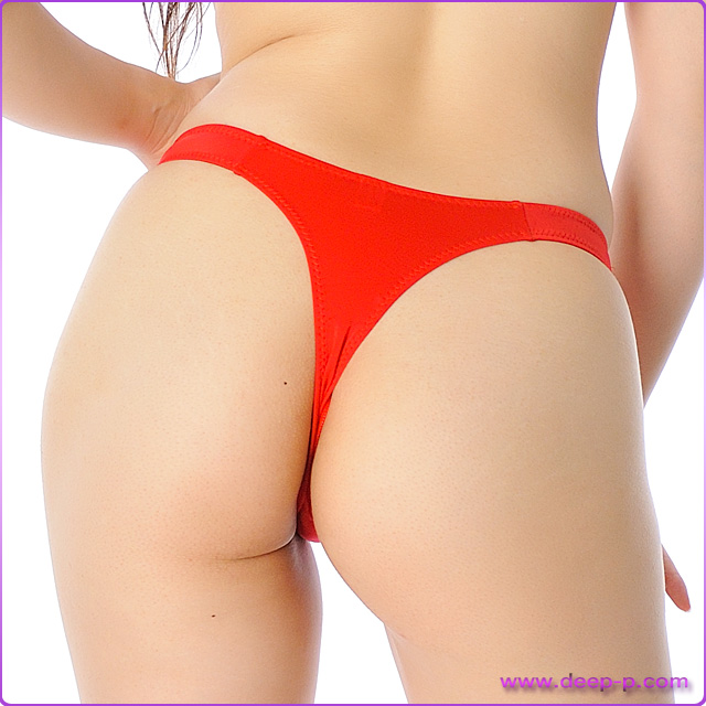 少しハイウエスト ハイレグTバックパンティ よく伸びフィット感がイイ マイクロファイバー地 赤色   ラポーム   ●