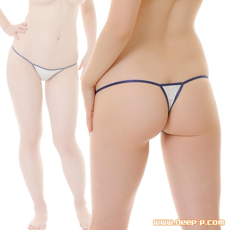 ローライズTバックパンティ 細くパステル縁取り よく伸び薄っすら透けるストライクスキン 紺色 | ターキー | ●