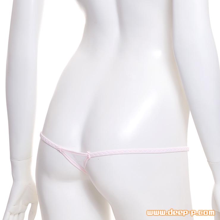 ギリッギリですよー メッチャ浅くパイピンクミニTバックパンティー お肌に優しいコットン地 白色 | ラポーム | ●