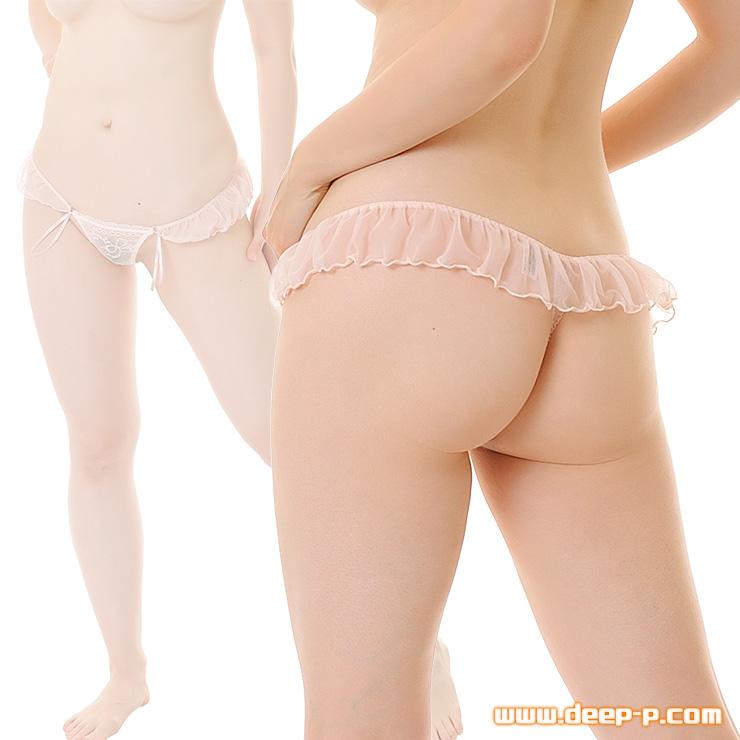 フリフリふんわり乙女チック オープンTバックパンティ お尻は開いてるのよ チュールレース ベージュピンク色 | ターキー | ●
