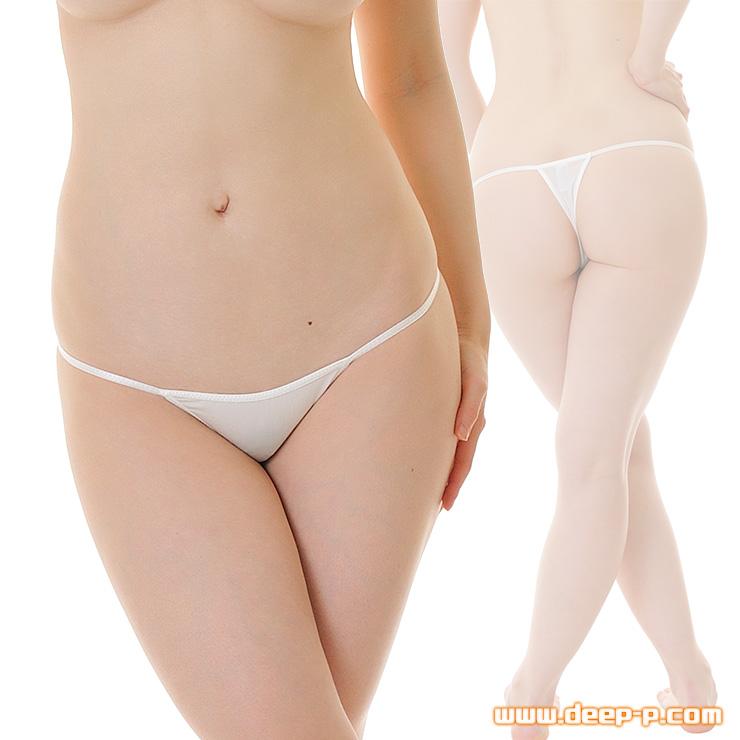 ローライズTバックパンティ 細くパステル縁取り よく伸び薄っすら透けるストライクスキン 白色 | ターキー | ●