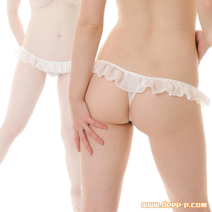 フリフリフリル フンワリした可愛いTバックパンティ 少しお肌透けちゃうの シフォン生地 ホワイト   ターキー   ●