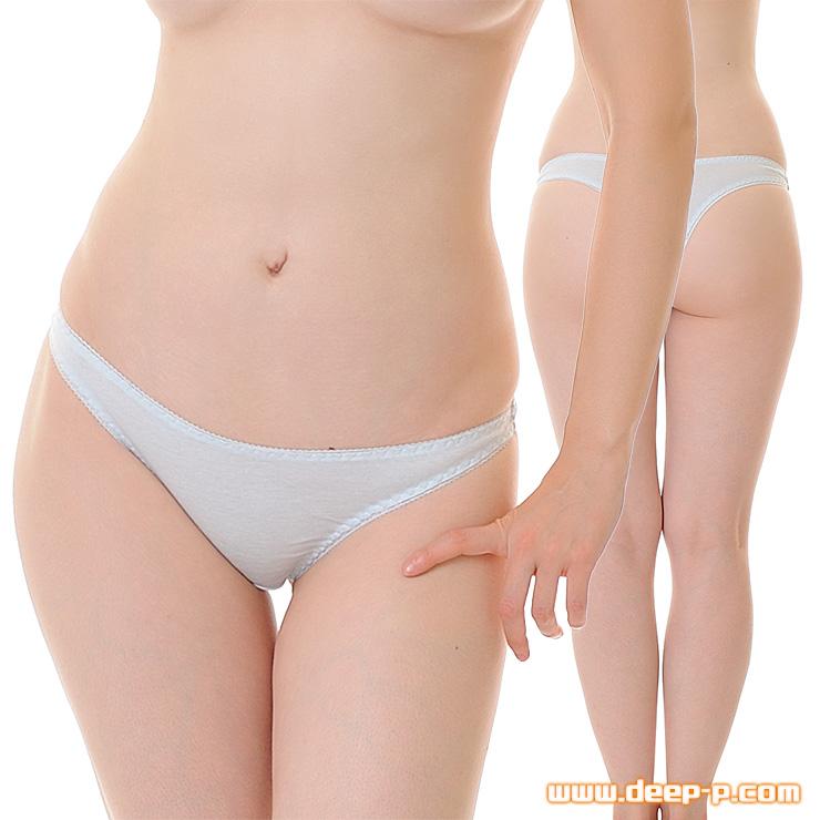 セクシー度はほぼゼロ シンプルで普通な感じのTバックパンティ お肌に優しいコットン地 水色 | ラポーム | ●