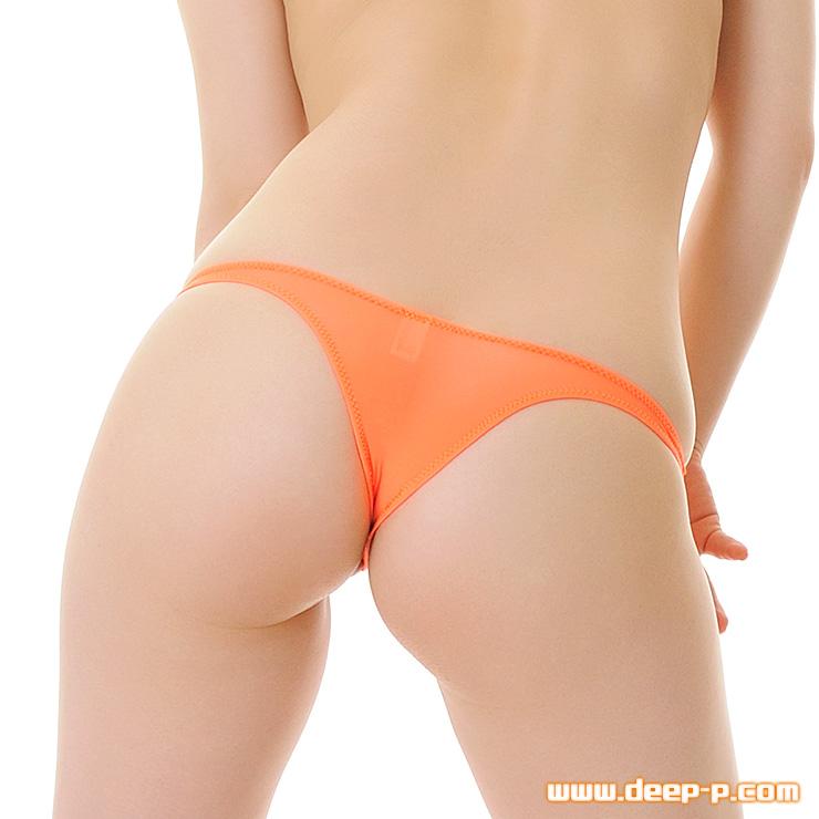 お肌隠れる面積細く狭い ローライズTフロントリオバックパンティ スーパーストレッチ地 オレンジ色   ラポーム   ●