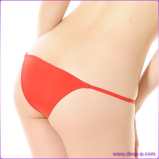 ミニハーフバックパンティ 腰回りスッキリ見えるサイドライン マイクロファイバー地 赤色   ラポーム   ●