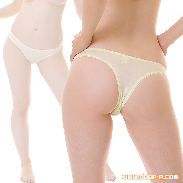 セクシー度はほぼゼロ シンプルで普通な感じのTバックパンティ お肌に優しいコットン地 クリームイエロー色 | ラポーム | ●