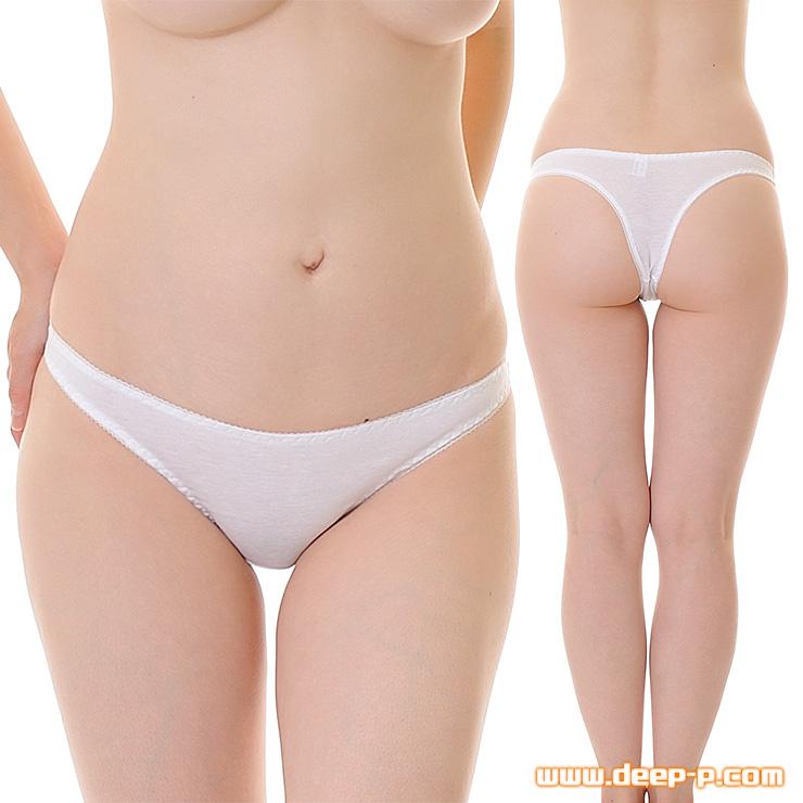セクシー度はほぼゼロ シンプルで普通な感じのTバックパンティ お肌に優しいコットン地 白色 | ラポーム | ●