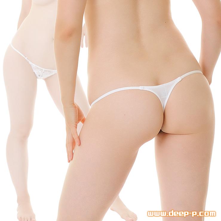 腰回りサイドライン ミニ浅ぃTバックパンティ 前にチュールレース 光沢が綺麗なYKS 白色 | ターキー | ●