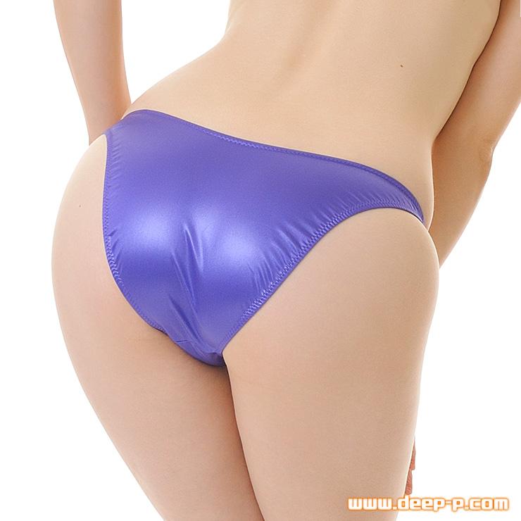前は浅く、お尻はシャープ 少しハイレグハーフバックパンティ 艶やかなフェリカ地 紫色 | ラポーム | ●