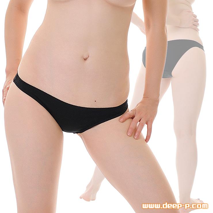 セクシー度はほぼゼロ シンプルで普通な感じのフルバックパンティ お肌に優しいコットン地 黒色 | ラポーム | ●