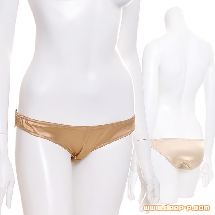 シンプルなロリ風フルバックパンティー だけど、発色と光沢が艶っぽいの ツルツルサテン地 ゴールド色   ラポーム   ●
