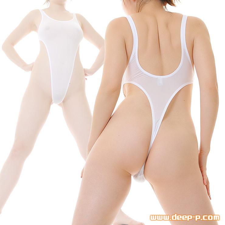 超ハイレグTバックプレイスーツ 薄っすらお肌透け具合がエロいの スーパーストレッチ地 白色 | ラポーム | ▲