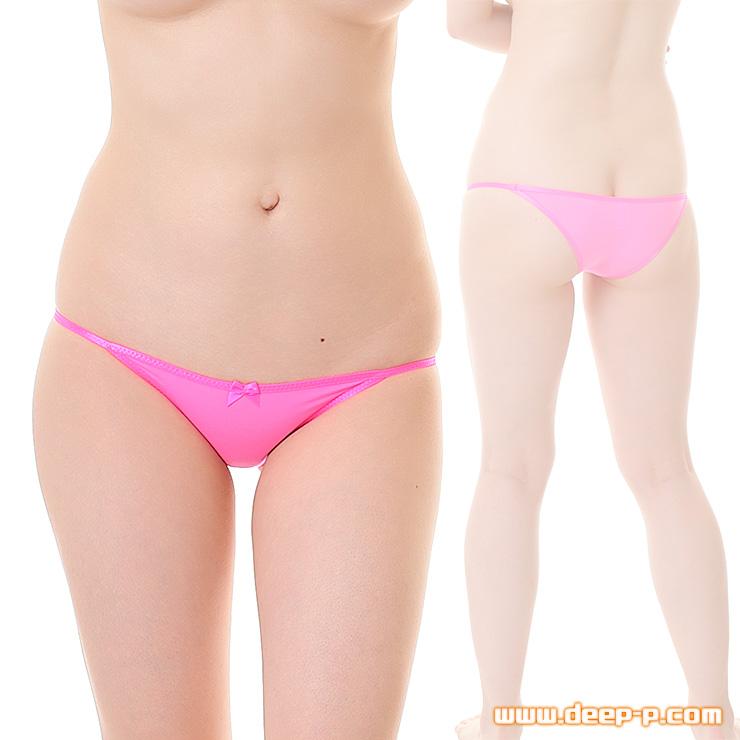 小さなリボン飾り付き ローライズハーフバックパンティー 薄っすら透けるストライクスキン ホットピンク色   ターキー   ●