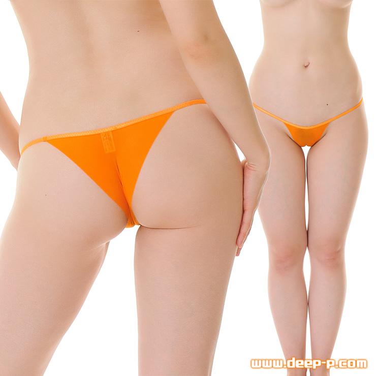 布1枚感覚で心許無いミニリオバックパンティ くい込みかヅレちゃう率高っ オレンジ色 | ターキー | ●