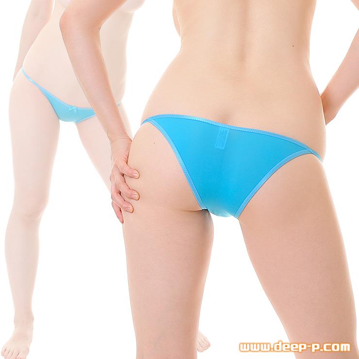 小さなリボン飾り付き ローライズハーフバックパンティー 薄っすら透けるストライクスキン 水色 | ターキー | ●
