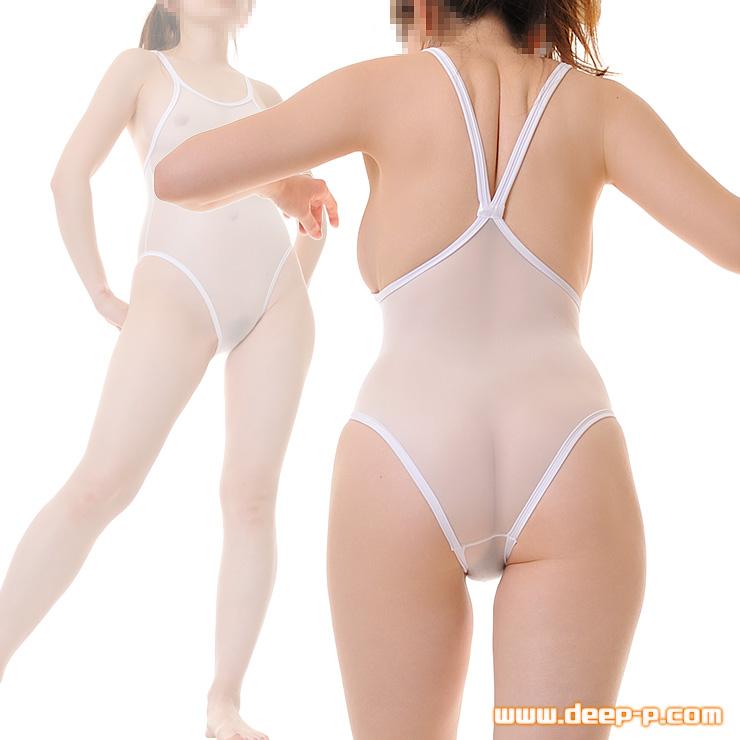 周り白くパイピンク スク水風プレイスーツ サラサラ布越しの触り心地が好い 白色 | ラポーム | ▲