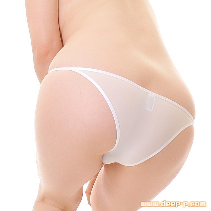 小さなリボン飾り付き ローライズハーフバックパンティー 薄っすら透けるストライクスキン 白色 | ターキー | ●